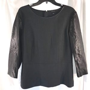 Ann Taylor Black Faux Leather Sleeve, Size 18